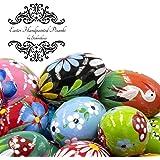 STOKROTKAUS Easter Eggs Pysanky Decor Hand Painted Polish Decoration Wooden Pisanki Yellow, White, Blue, Green, Orange, Pink,