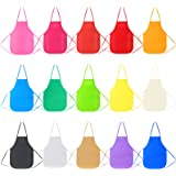 Caydo 15 Pack 15 Colors Children's Artists Fabric Aprons for Kids 3-5, Kids Artist Apron Applied in Classroom, Kitchen, Commu