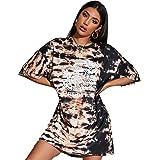 Floerns Women's Casual Tie Dye Graphic Print Short Sleeve Loose T Shirt Dress