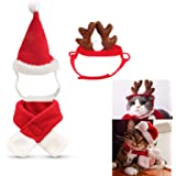 fast and good Cat Santa Christmas Hat + Muffler + Elk Antler Reindeer Hat, Head Wear Accesories Christmas Costume Outfits for