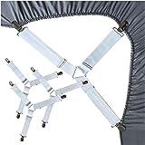 (Triangle-White-4 pcs) - Bed Sheet Fasteners, Adjustable Mattress Suspenders, Mattress Cover Straps, Bed Corner Holder and Ke