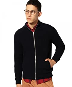 Mercerized Wool Rib Mock Neck Full Zip Cardigan 3228-199-0204: Navy