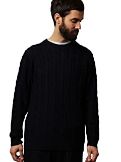 Wool Cable Crewneck Sweater 1213-105-3231: Navy