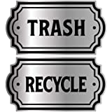 Recycle and Trash Logo Symbol - Elegant Golden Look for Trash Cans, Containers, and Walls - Laminated Vinyl Decal (Small, Sil