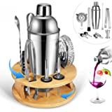 Bartender Kit with Rotating Bamboo Stand by Roccar,10-Piece Stainless Steel Bar Tool Set, Perfect Home Bartending Kit & Marti