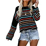 Casual Crew Neck Color Block Knit Pullover Oversized Sweaters for Women Jumper Top