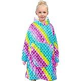 Nidoul Oversized Blanket Sweatshirt, Wearable Fleece & Sherpa Hoodie for Kid Teen Girls, Unicorn Rainbow Fleece Pullover Hood