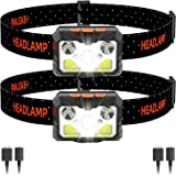 MOSUNECE LED Headlamp 2Pack, 1100 Lumens USB Rechargeable Headlamp Flashlight with [6 Modes] [One-Click On/Off] [Motion Senso