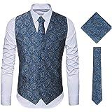 MAGE MALE Men's 3pc Paisley Floral Jacquard Vest Waistcoat Necktie Pocket Square Set for Suit or Tuxedo