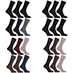 Mens Anti-Bacterial Bamboo Super Soft Work/Casual Non Elastic Top Socks (Pack Of 6)