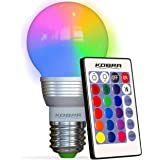 Kobra Retro LED Color Changing Light Bulb with Remote Control- 16 Different Color Choices Smooth Flash or Strobe Mode- Premiu