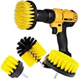 DRILL BRUSH 360 Original Attachments 3 Pack kit Medium- Yellow All Purpose Cleaner Scrubbing Brushes for Bathroom Surface, Gr