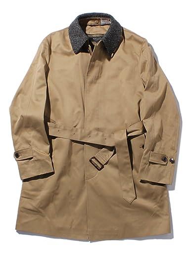 Harris Tweed Collar Cotton Gabardine Coat 51-19-0175-565: Beige