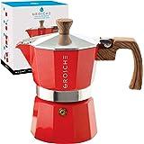 GROSCHE Milano Stovetop Espresso Maker Moka Pot 3 espresso Cup - 5oz, Red - Cuban Coffee Maker Stove top coffee maker Moka It
