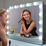 BEAUTME 女優ミラー 大きい ハリウッド化粧鏡 15個LED電球付き 3色明るさ調整 10倍拡大鏡付き/化粧台 卓上/壁掛け両用 (70/55.2cm シルバー)