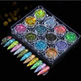 12 boxes/set nail powder 12 colors, Nail Glitters Holographic Nail Art Sequins Powder Flakes for Body Face Hair,Eyeshadow Mak
