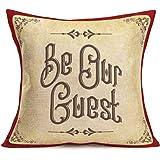 "YANGYULU Quote Words Cotton Linen Home Decorative Throw Pillow Case Sofa Cushion Cover 18"" x 18"", Cotton Linen, Be Our Guest,"
