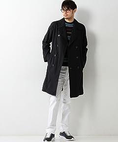 Cotton Linen Trench Coat 1125-133-5935: Navy