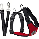 SlowTon Dog Car Harness Plus Connector Strap, Multifunction Adjustable Vest Harness Double Breathable Mesh Fabric with Car Ve