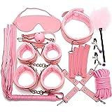 10Pcs Pink Sëx Böñdägë Beginner Set Adǔlt Sëx Böñdägé Päddlëš, Whípš Hâñdçǔffs Bäll Gäg Cöllär Blíñdföld Flírt FẹtíŚh Cöuplẹs