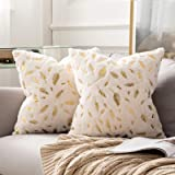 MIULEE Pack of 2 Decorative Christmas Throw Pillow Covers Plush Faux Fur with Gold Feathers Gilding Leaves Cushion Covers Cas