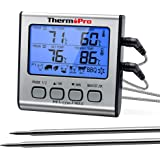 ThermoPro TP-17 Dual Probe Digital Cooking Meat Thermometer Large LCD Backlight Food Grill Thermometer with Timer Mode for Sm