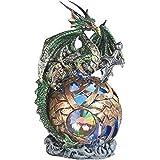"StealStreet Sitting Dragon On Light Up Led Orb Statue Display, Green, 6"""