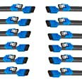 BENFEI SATA Cable III, 12 Pack SATA Cable III 6Gbps Straight HDD SDD Data Cable with Locking Latch 18 Inch Compatible for SAT