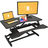 Standing Desk with Height Adjustable - FEZIBO Stand Up Black Desk Converter, Ergonomic Desktop Workstation Riser fits Dual Mo