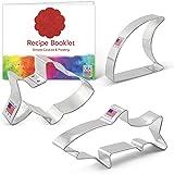 Ann Clark Cookie Cutters 3-Piece Shark Cookie Cutter Set with Recipe Booklet, Baby Shark, Shark Fin, Shark