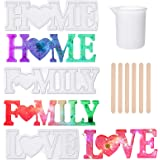 3D Love Home Family Letter Resin Mold, Silicone Casting Mold with 3 Pieces LED Light String 6 Pieces Wooden Mixing Sticks, Ca