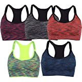 SLTY Women's Zip Front Sports Bra Padded Seamless Bra Activewear Removable Pads Yoga Sports Bras