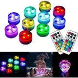 10pcs Submersible LED Lights, 100% Waterproof RGB Multicolor Mood Light Underwater LED Tea Lights Battery Powered with IR Rem
