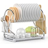 Dish Drying Rack, iSPECLE 2 Tier Dish Rack with Utensil Holder, Cutting Board Holder and Dish Drainer for Kitchen Counter Top