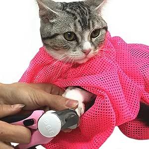 【iHappiness】 猫用 みのむし袋 おちつくネット ねこ用 ネット 猫 シャンプー 爪切り 耳掃除 が楽々 (レッド)