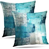 Alricc Pillow Cases Decorative Bedroom, Cotton, Turquoise and Grey Art, 18X18 Set of 2