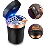 SOLARXIA Car Ashtray, Auto Ashtray Cigar Electronic Cigarette Lighter Detachable Solar Powered/USB Rechargeable with Lid Blue