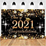 Black and Golden Glitter Bokeh Spots Photography Backdrops Class of 2021 Graduation Party Photo Background 7x5ft Vinyl Congra