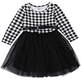 Toddler Little Baby Girl Christmas Outfit Buffalo Plaid Dress Tutu Tulle Princess Dresses Clothes