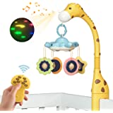 TUMAMA Remote Control Giraffe Baby Crib Mobiles with Projection Lights and Music,Volume Up or Down,Sleeping,Piano and Natural