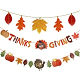 Set of 3 Happy Thanksgiving Day Banner Give Thanks Bunting Maple Leaf Banner Paper for Thanksgiving Party Celebration Party D