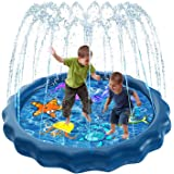 Luxital Splash Sprinkle Pad for Kids, Fountain Outdoor Inflatable Water Toys, 59'' Summer Water Party Spray Play Mat, Swimmin