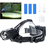 LED Rechargeable Headlamp for Adults,10000 Lumens Outdoor Led Head Lamps Flashlights, Headlights with Batteries Included, Zoo