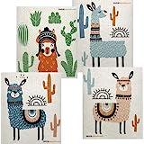 Mixed Llama Set of 4 Cloths Swedish Dishcloths (One of Each Design)   ECO Friendly Sponge Cloth   Paper Towel Replacement