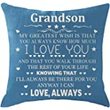 ITFRO Grandson Gift with Inspirational Words Blue Burlap Pillow Case Pillowcase for Chair Couch Decorative Square 18 Inch
