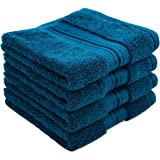 Cleanbear Premium Washcloths for Face - Cotton Wash Cloths - Thick & Soft, Set of 4 (13 x 13 Inches, Peacock Blue)