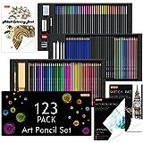 Shuttle Art 123 Pack Art Pencil Set, 36 Watercolor Pencils,36 Oil Based Pencils,12 Sketch Pencils,12 Metallic Color Pencils,1
