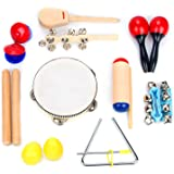 Musical Instrument Set 16 PCS | Rhythm & Music Education Toys for Kids | Clave Sticks, Shakers, Tambourine, Wrist Bells & Mar