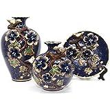 NEWQZ Chinese Vases, Classical and Stylish Decorative Ceramic Vase, Set of 3 Vases, Home Decor (darkblue)