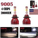 2Pcs 9005 LED Headlight Bulbs Conversion Kit HB3/H10 Car Headlamp 20000LM 6000K Cool White Hi/Lo Beam DRL Fog Light Replace f